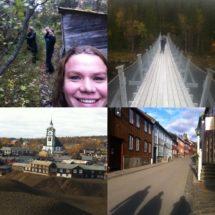 Røros med familien. Hængebro over en elv på vejen hjem til Trondheim.
